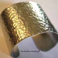 Hammered Cuff Bracelet - Textured Cuff - Extra Wide Cuff - Metal Cuff - Gift For Her - Aluminum Cuff - Bold Statement Jewelry - Mothers Day