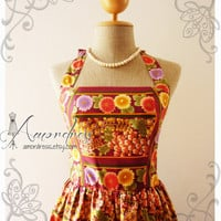 The Oriental Beauty Exotic Purple Gold Japanese Floral Vintage Inspired Dress Party Tea Dress Once Upon a Time -Size S- .LIMITED EDITION