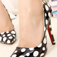 Ladies Polkadot High Heel Fashion Court Shoes In BLACK from NaomiShu