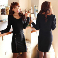 Lady Women&#x27;s Casual Double Breasted Long Sleeve Sheath Solid Mini Dress