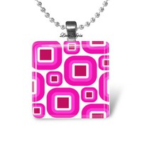 Modish pink white squares glass necklace keychain
