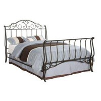 HomeSullivan, Queen-Size Sleigh Metal Bed with Headboard, 40779B221C[BED] at The Home Depot - Mobile