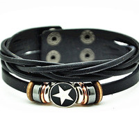 Women leather bracelet star pendant brown Leather bracelet Charm Bracelet  high quality bracelet  RZ0238