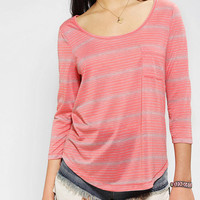 BDG Striped 3/4 Sleeve Shirttail Tee