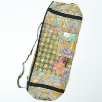 Zippered Java Patchwork Yoga Mat Bag -- Mexicali Blues