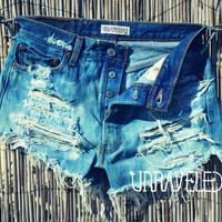 Bleached denim Levis High Waisted Shorts (SMALL)