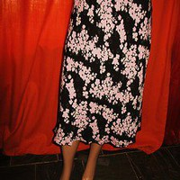 CASLON SKIRT RETRO STYLE  BLACK W FLORAL PRINT LINED SILK SIZE L
