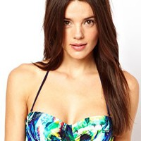 Ted Baker Tropical Parrot Print Padded Underwired Bikini Top at asos.com