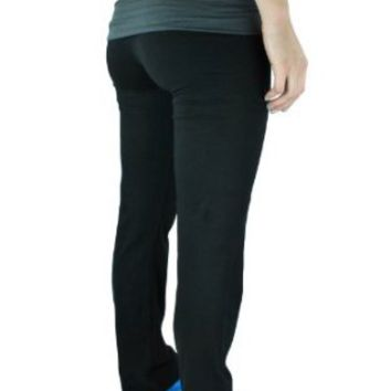 Amazon.com: Fold Over Contrast Waist Lounge Pants Cotton Spandex: Clothing