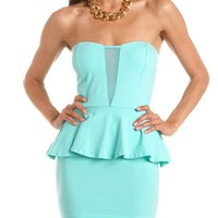 Mesh Inset Sweetheart Peplum Dress: Charlotte Russe