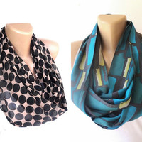 2 infinity loop scarves , womens accessories , polka dot and striped scarf , eternity scarf , spring summer accessory