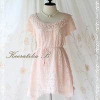 Lacy Darling III - Lady Lace Dress Pink Brush Lace Sweet Simply Party Dress Classy Detailed Flutter Sleeve Scarf Hem Dress S-M