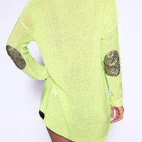 Cute Neon Green Patch Knit