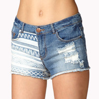 Destroyed Tribal Print Denim Shorts | FOREVER 21 - 2047108645