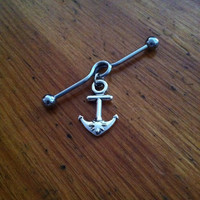 Industrial Barbell - Silver Anchor Industrial Barbell - Industrial Piercing