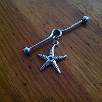Industrial Barbell - Silver Starfish Industrial Barbell - Industrial Piercing