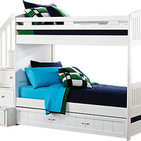 Cottage Colors White Twin Twin Step Bunk Bed