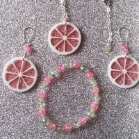 Pink Lemonade  - Set of Earrings, Necklace, and Beaded Stretch Bracelet from On Secret Wings