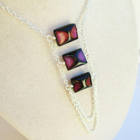Purple & Black Agate Stone Rectangle Silver Ladder Necklace