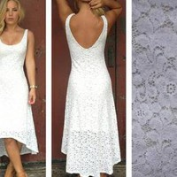 White Lace Sleeveless Hi Low Dress with V-Back