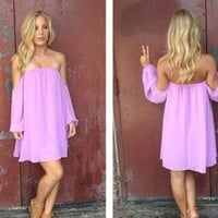 Purple Chiffon Off the Shoulder Dress with Sheer Sleeves