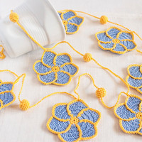 Periwinkle and Yellow Pinwheel Crochet Flower Garland