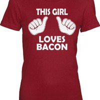 Amazon.com: Women's This Girl Loves Bacon T Shirt funny womens bacon tee: Clothing