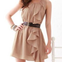 SASSY MINI TAN DRESS