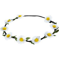 White daisy stretch hair garland
