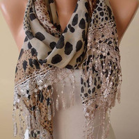 Mother's Day - Elegant and Leopard Scarf - Gift - Beige and Brown - Silk - Chiffon with Beige Trim Edge