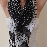 New - Mother's Day Gift - Polka Dots - Black and White- Leopard - Silk - Chiffon with Trim Edge