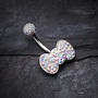 Tiffany Inspired Bowtie Multi-Gem Belly Button Ring Body Jewelry