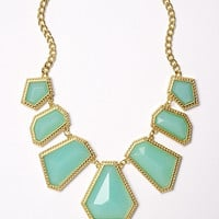 7 Stationary Faceted Geometric Bib Necklace