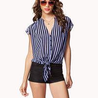 Vertical Striped Front-Tie Shirt | FOREVER 21 - 2023462617