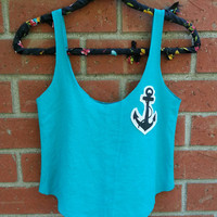 Anchor Cut Out Tank Top / Adult turquoise