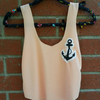 Anchor Cut Out Tank Top / Adult Peach