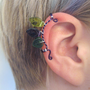 Thranduil Ear Cuff The Mirkwood Collection elvish Tolkien purple green leaf leaves silver wire glass bead