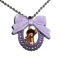 Bambi Cameo Necklace, Cute Purple Bow Kawaii Deer