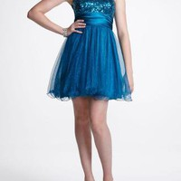 Strapless Short Sequin Tulle Prom Dress - David's Bridal - mobile