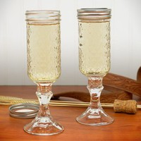 Redneck Mason Jar Champagne Glass Set