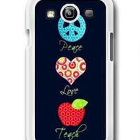 Colorful Peace Love Teach- Samsung Galaxy S3 Case Samsung Galaxy SIII Case ,