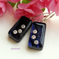 Starry Night Cubic Zirconia Dichroic Fused Glass Dangling Earrings