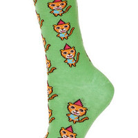 Green Party Cat Ankle Socks - Tights & Socks  - Clothing