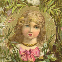 Victorian Trade Card FRIENDS SOAP Cherub Face Curly Blonde Haired Girl Moonlight over the water
