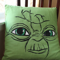 Screenprinted Green Yoda Decorative Pillow 20 by themallofjustice