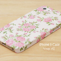 iPhone 5 case - Little Pink Roses  / Pink roses iPhone 5 case/ iPhone case / Decoupage iphone case