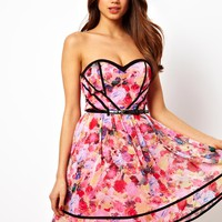 Little Mistress Floral Print Belted Prom Dress