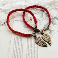 Vintage DIY Red Rope Bracelets for Couple