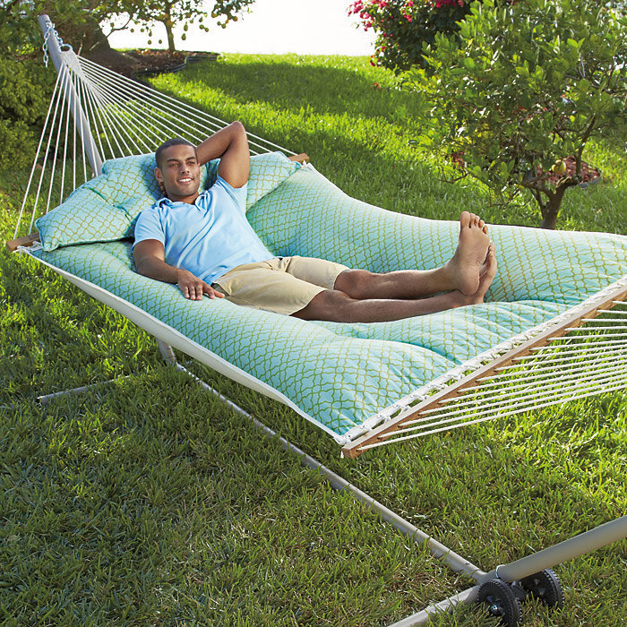 Tufted fabric hammock from brookstone epic wishlist - How to make a cloth hammock ...