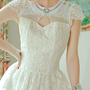Flower lace white dress
